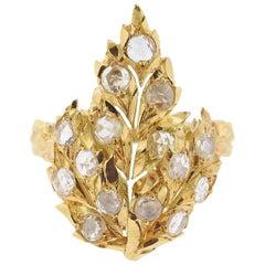 Buccellati Rose Cut Diamond Leaf Gold Ring