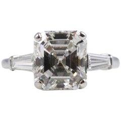 Magnificent 3.87 Carat GIA Certified Emerald Cut Diamond Ring