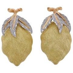Buccellati Tri Color Gold Lemon Earrings