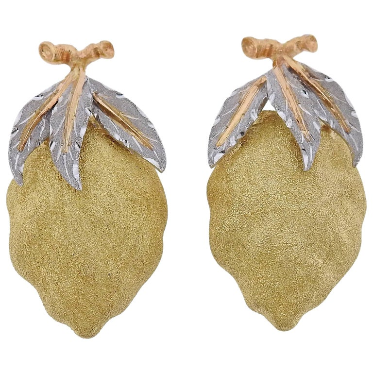 Buccellati Tri Color Gold Lemon Earrings For Sale