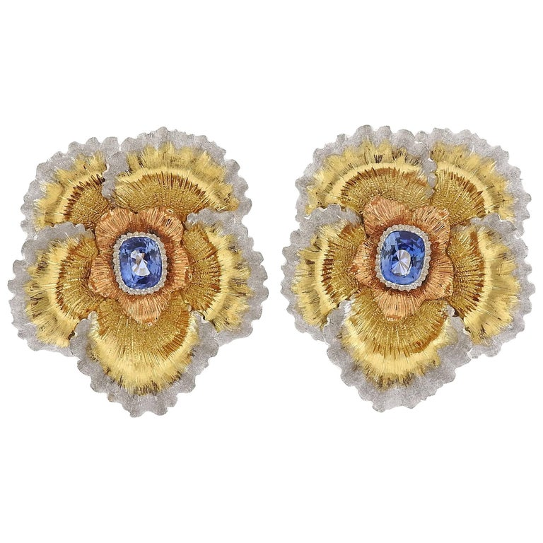 Buccellati Sapphire Tri Color Gold Flower Earrings