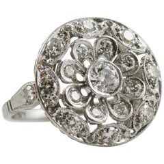 Art Deco Platinum and European Cut Diamond Circle Motif Ring