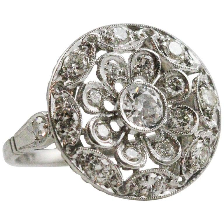 Art Deco Platinum and European Cut Diamond Circle Motif Ring