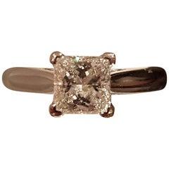 1.06 Carat G VS1 GIA Certified Princess Cut Platinum Solitaire Diamond Ring