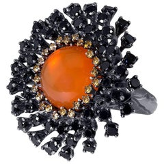 Fire Opal Spinel Garnet Sterling Silver Ring One of a Kind