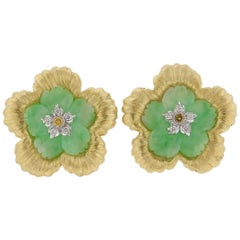 Buccellati Carved Jade Diamond Gold Flower Earrings