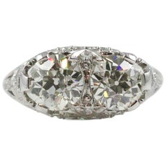 Elaborate Edwardian Double Stone European Cut Diamond Ring