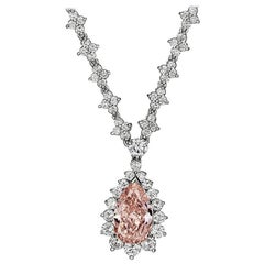 GIA Certified Fancy Orangey Pink Diamond Necklace