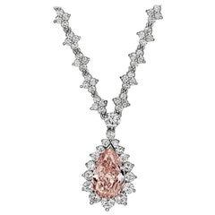 GIA Certified Fancy Orangey Pink Diamond Necklace