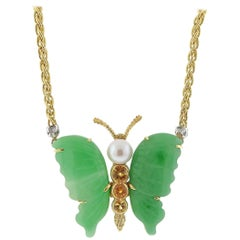 Buccellati Jade Pearl Citrine Gold Butterfly Necklace
