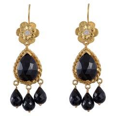 Emma Chapman Black Spinel Moonstone Chandelier Earrings