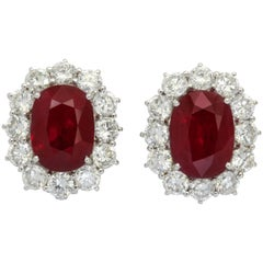 18K White Gold Burma Ruby and Diamond Clip-on Earrings