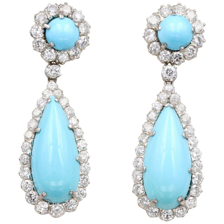 French Gold, Diamonds and Turquoise Cabochon Earrings