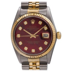 Rolex Yellow Gold Custom Mother-of- Pearl Datejust Self Winding Wristwatch
