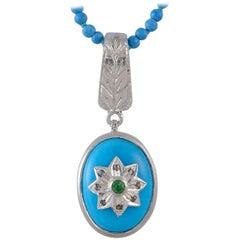 Emma Chapman Turquoise Diamond Silver Pendant