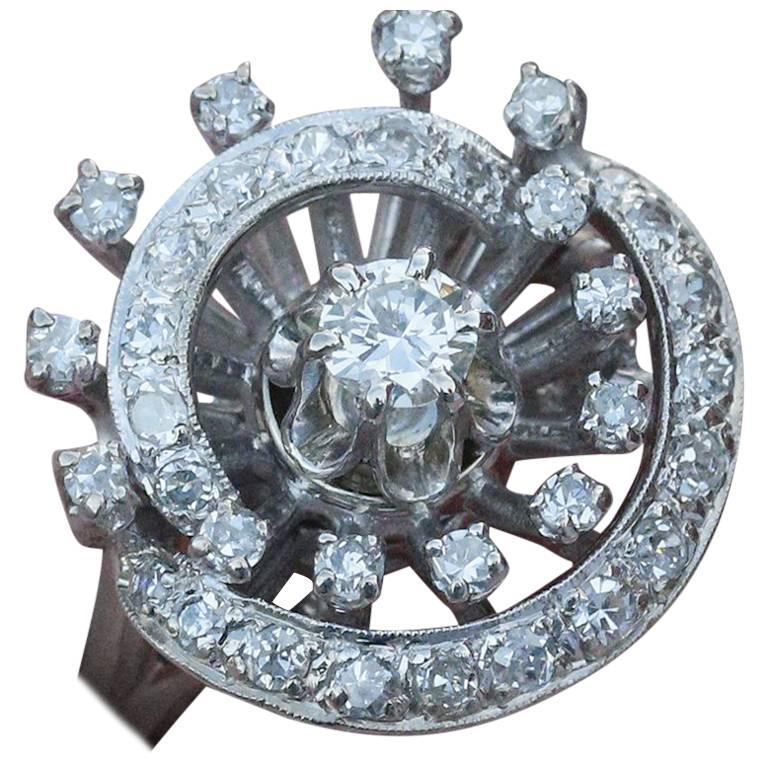 Unique 1950s Retro 14 karat White Gold and Diamond Cluster Ring