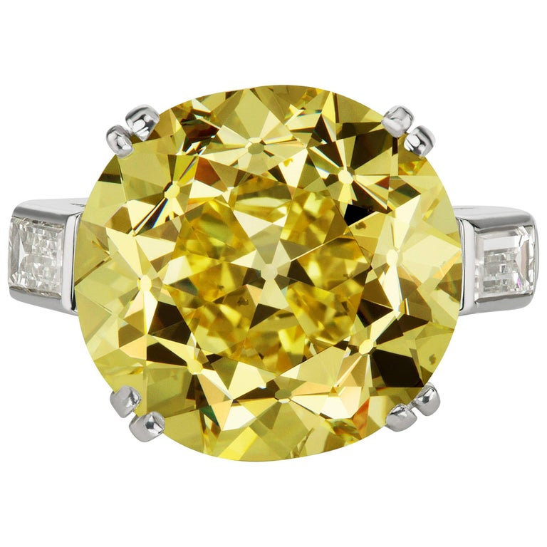 GIA Natural Fancy Intense Yellow Diamond Ring For Sale
