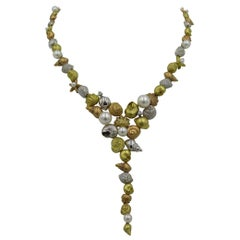 Paul Morelli Diamond, Pearl, Rose Gold, White Gold and Yellow Gold Necklace