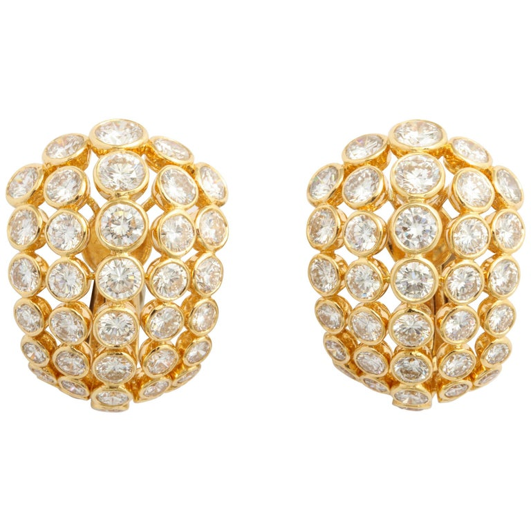 Cartier Diamond Clip-On Earrings For Sale
