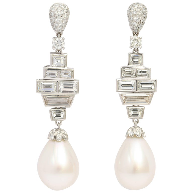 Diamond South Sea Cultured Pearl Drop Earrings