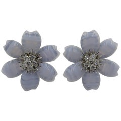 Van Cleef & Arpels Blue Lace Agate and Diamond Rose de Noel Earrings