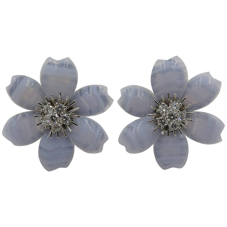 Van Cleef & Arpels Blue Lace Agate and Diamond Rose de Noel Earrings For Sale
