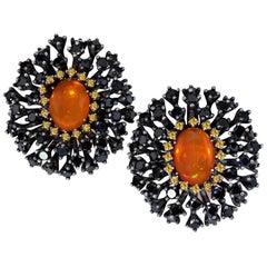 Fire Opal Spinel Garnet Sterling Silver Earrings One of a Kind