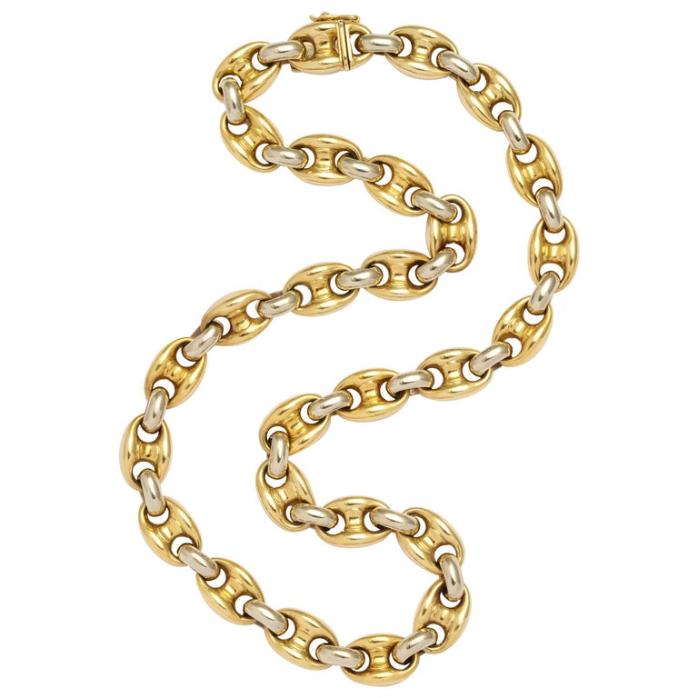Bulgari Yellow and White Gold Link Necklace For Sale