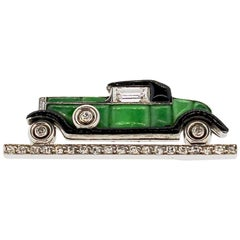 Cartier Art Deco Jade Enamel Diamond Vintage Car Brooch