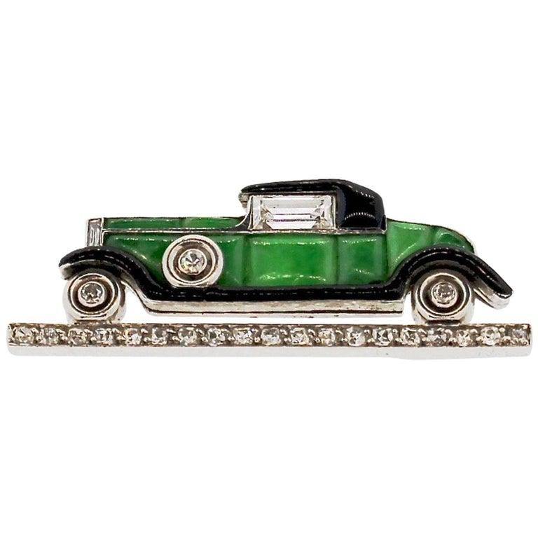 Cartier Art Deco Jade Enamel Diamond Vintage Car Brooch