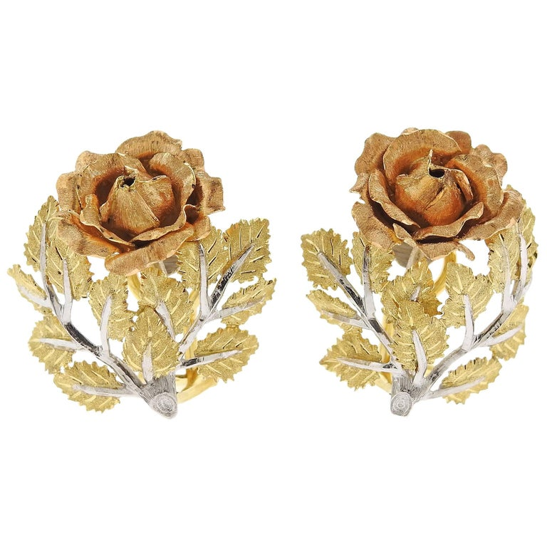 Buccellati Buccellati Tri Color Gold Rose Flower Earrings For Sale