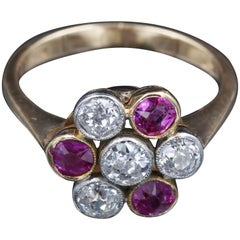French Gold, Diamonds and Pink Sapphires Ring