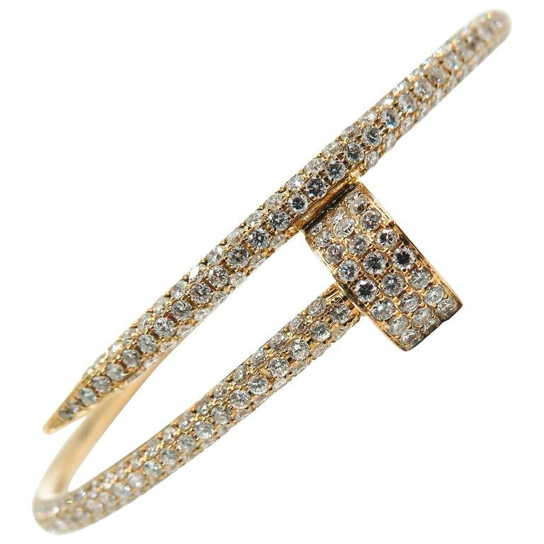 Cartier Juste un Clou Rose Gold Pave Diamond Bracelet For Sale at