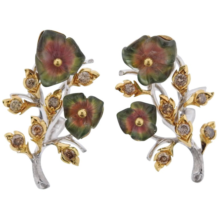 Buccellati Diamond Tourmaline Gold Flower Earrings For Sale