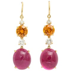 Donna Vock Cabochon Rubellite Mandarin Garnet and Diamond Drop Earrings