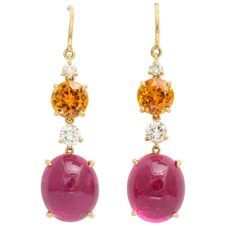 Donna Vock Cabochon Rubellite Mandarin Garnet and Diamond Drop Earrings
