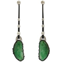 Art Deco Carved Jade Diamond and Enamel Drop Earrings
