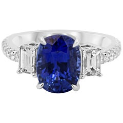 GIA Certified Ceylon Sapphire 3.95 Carat Diamond Ring