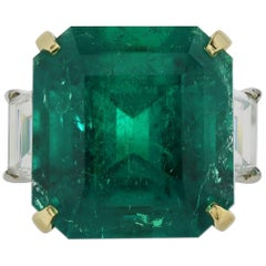 16.11 Carat AGL Colombian Emerald Diamond Ring