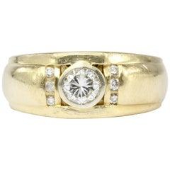 Yellow Gold .70 Carat Diamond Men's Band Ring