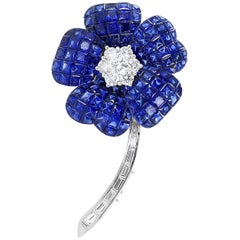 Invisible Set Sapphire and Diamond Flower Pin
