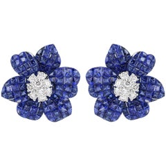 13.12 Carat Sapphire and Diamond Flower Motif Earrings