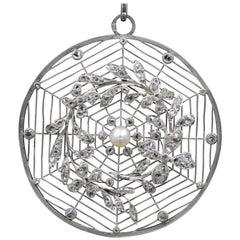 French Belle Époque Platinum, Diamonds and Pearl Rosette Pendant