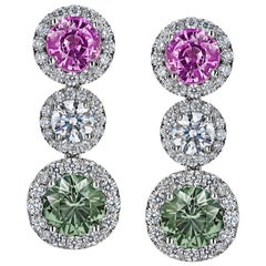 Round Pink and Green Sapphire and Diamond Platinum Drop Earrings