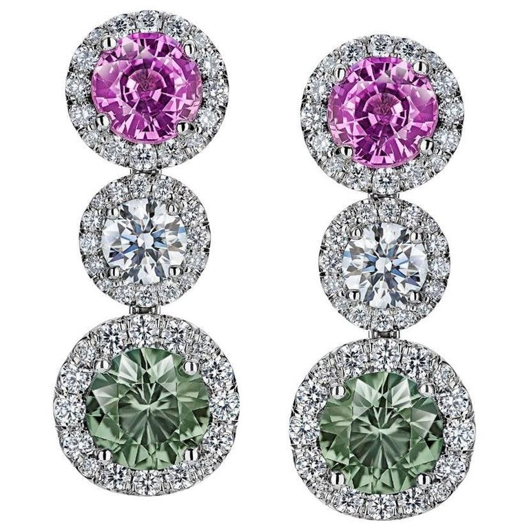 Round Pink and Green Sapphire and Diamond Platinum Drop Earrings For Sale
