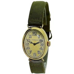 J.W. Benson Yellow Gold Oval Military Style Engraved Manual Wristwatch, 1918