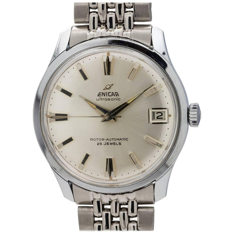 Enicar stainless steel Ultrasonic Self Winding Wristwatch, circa 1960s For Sale