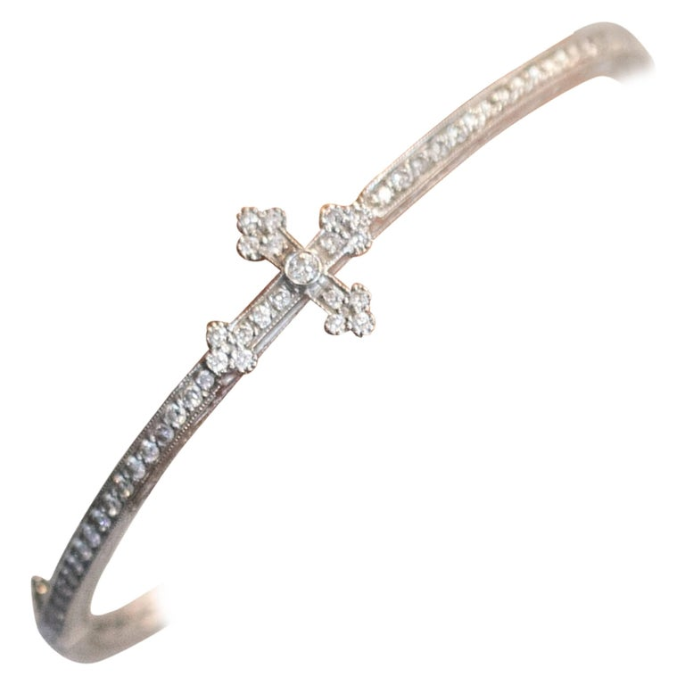 Jude Frances Guinevere Diamond and 18 Karat Gold Cross Bangle Bracelet