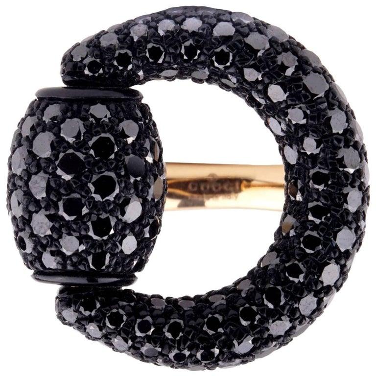 Gucci Black Diamond Horsebit Rose Gold Ring