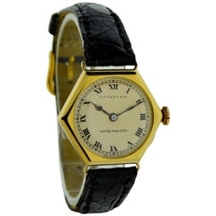 Patek Philippe for Tiffany & Co. Yellow Gold Art Deco Manual Dress Wristwatch